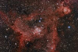 Nebulosa del corazón IC1805 con un procesado menos contrastado